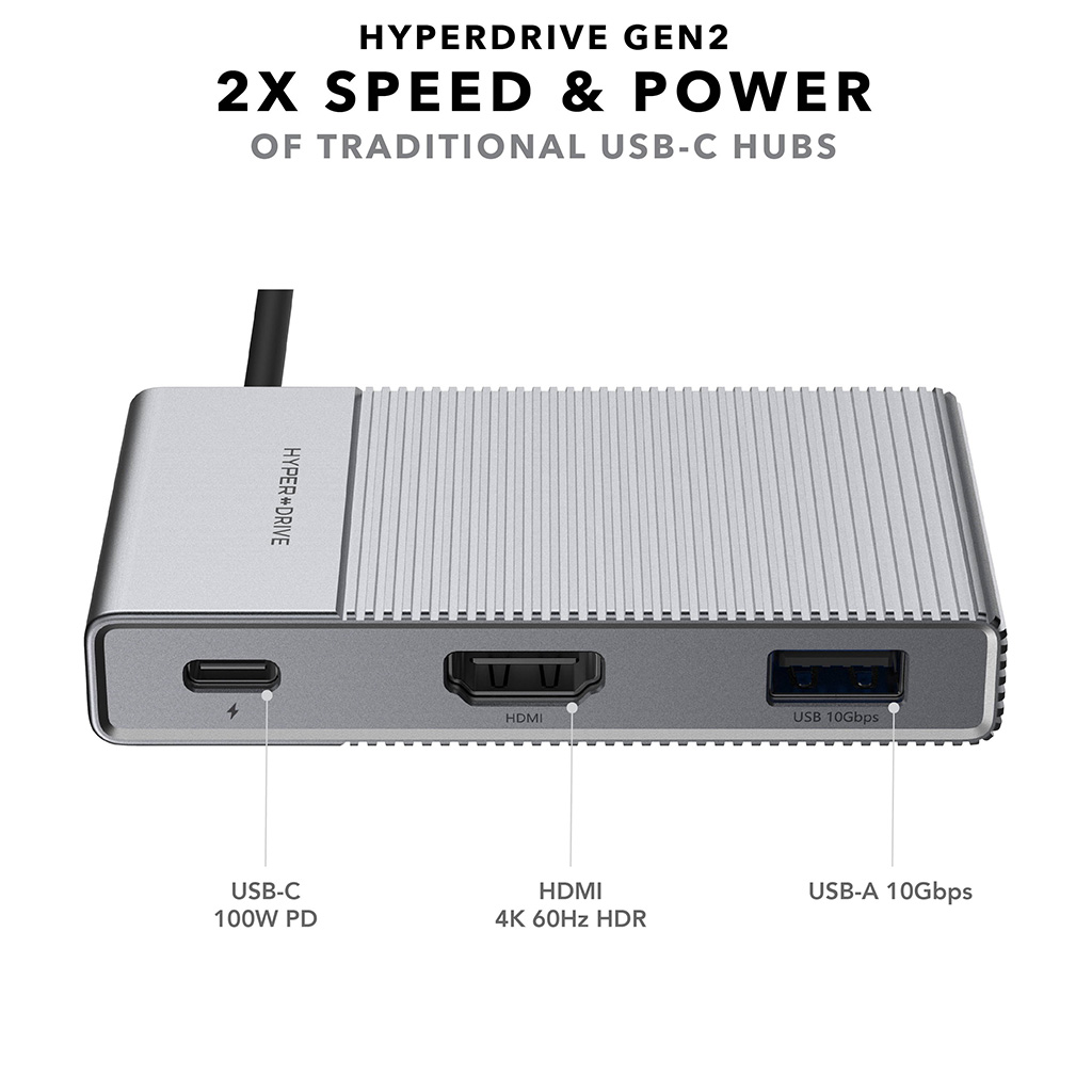 Cổng Chuyển Hyperdrive GEN2 6 In 1 Cho Macbook, iPad Pro, PC, Surface, Devices